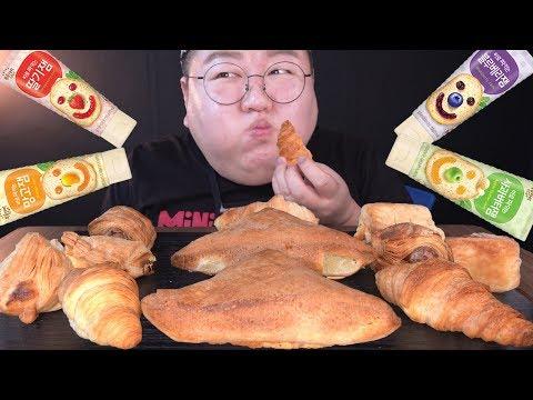 SUB) 갓 구운 빵을 집에서??[ CJ 고메 베이커리 4종 플레인스콘 크로와상 크림치즈파이 후랑크페스츄리 ] 먹방 Making Bread with Air Fryer Mukbang