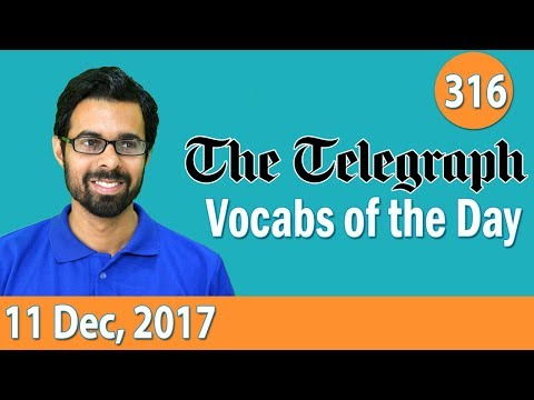 ✅ The Telegraph Vocabulary (11th Dec, 2017) - Learn 10 New Words with Tricks | Day-316