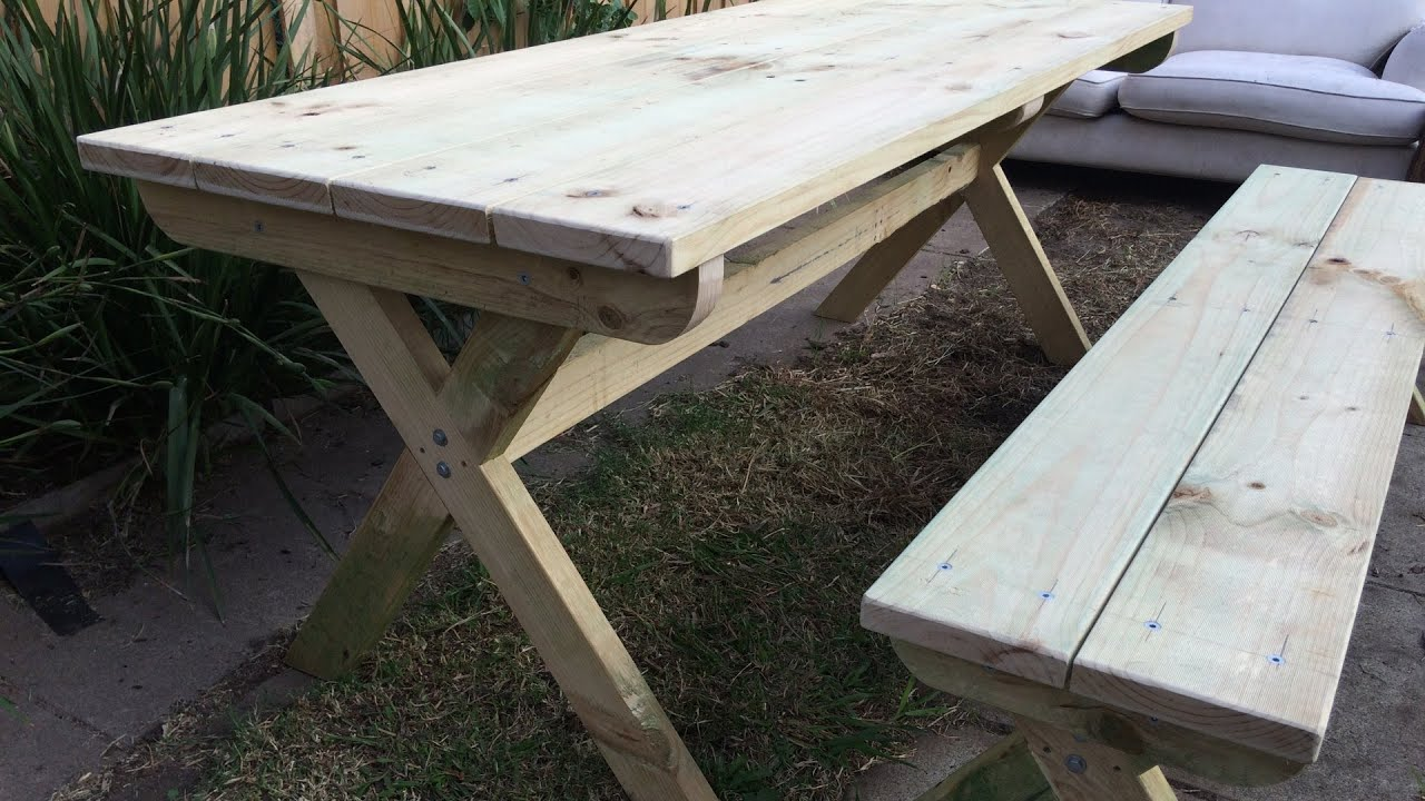 Diy cross leg outdoor table and bench youtube for Cross leg table plans