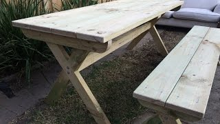 DIY cross-leg outdoor table and bench