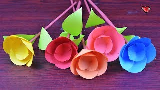 Easy & Unique Paper Stick Flower 🌹 DIY Paper Awesome Flowers Tutorial 🌹 Origami Flowers