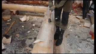 Сруб дома, бани. Норвежская, канадская рубка(Изготовление норвежской (канадской) чашки в рубленом бревне и лафете. Более подробную информацию можно..., 2012-11-09T20:47:21.000Z)