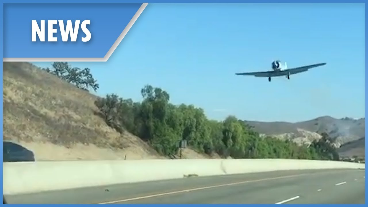 Moment replica WW2 plane crashes on Californian highway