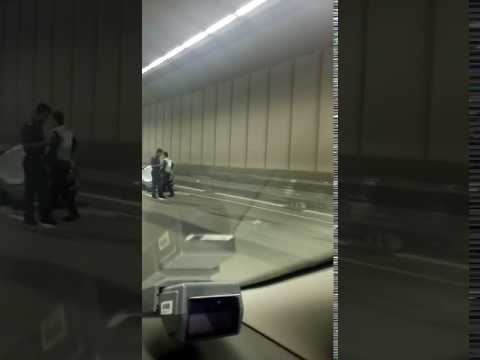 Car crushed by trailer in Tuas tunnel