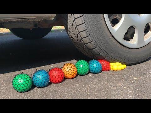 Crushing Crunchy & Soft Things by Car! - EXPERIMENT: SLIME ANTISTRESS BALLS VS CAR