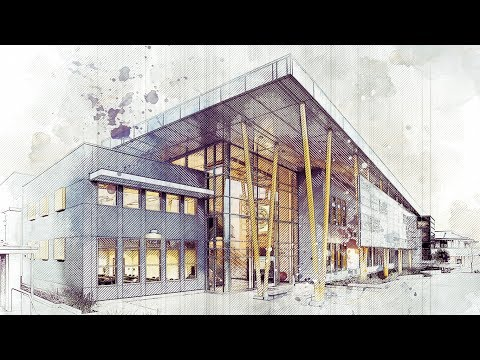 Architecture Art Sketch Photoshop Action Tutorial - Advanced