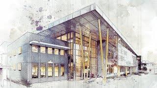 Architecture Art Sketch Photoshop Action Tutorial - Advanced