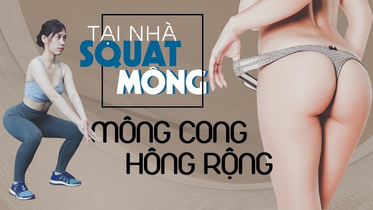 Squats tại nhà hông rộng mông cong đơn giản hiệu quả