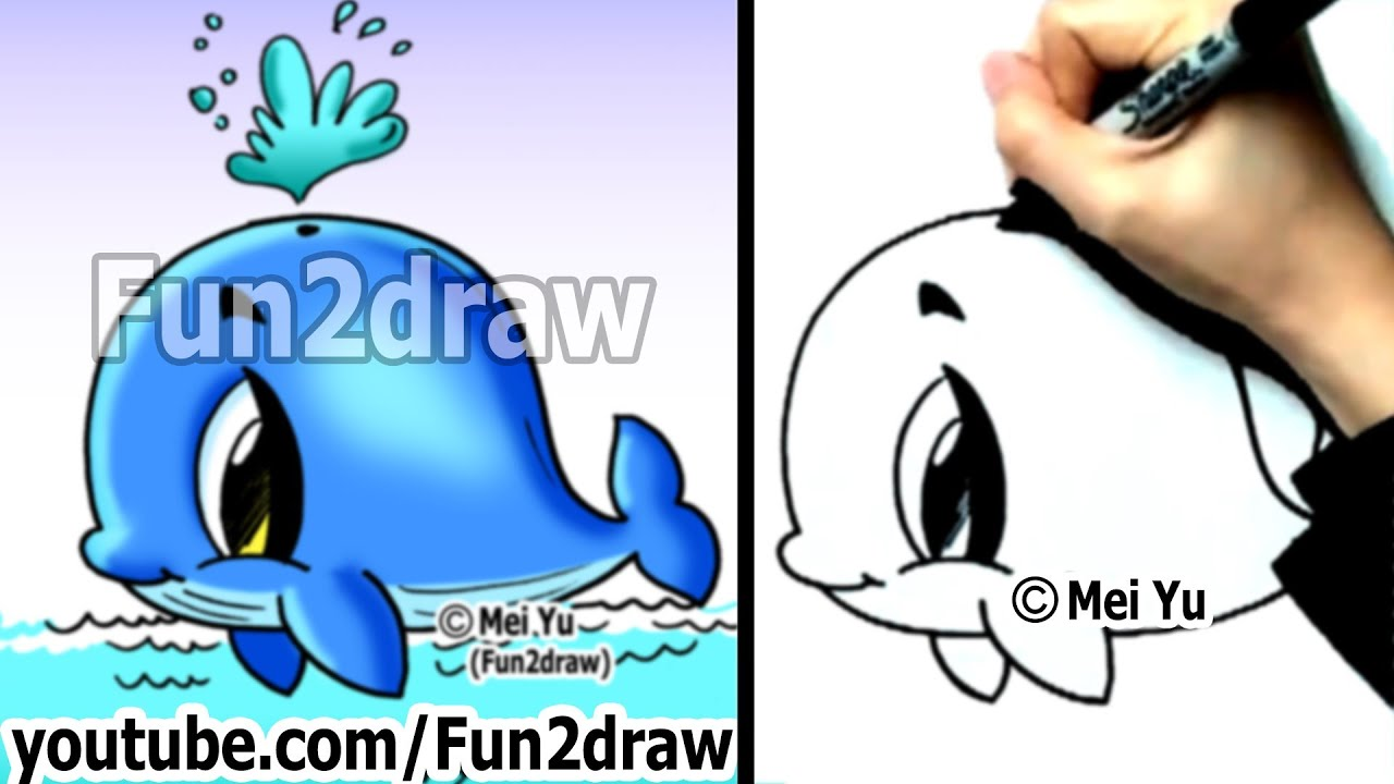 Easy Fun Things To Draw  How To Draw A Whale  Cute Drawings  Fun2draw   Youtube