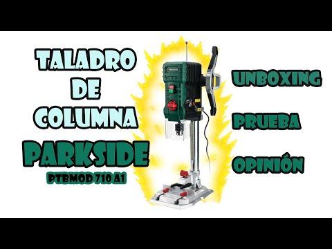 unboxing, montaje y prueba taladro columna Parkside modelo PTBMOD 710 A1