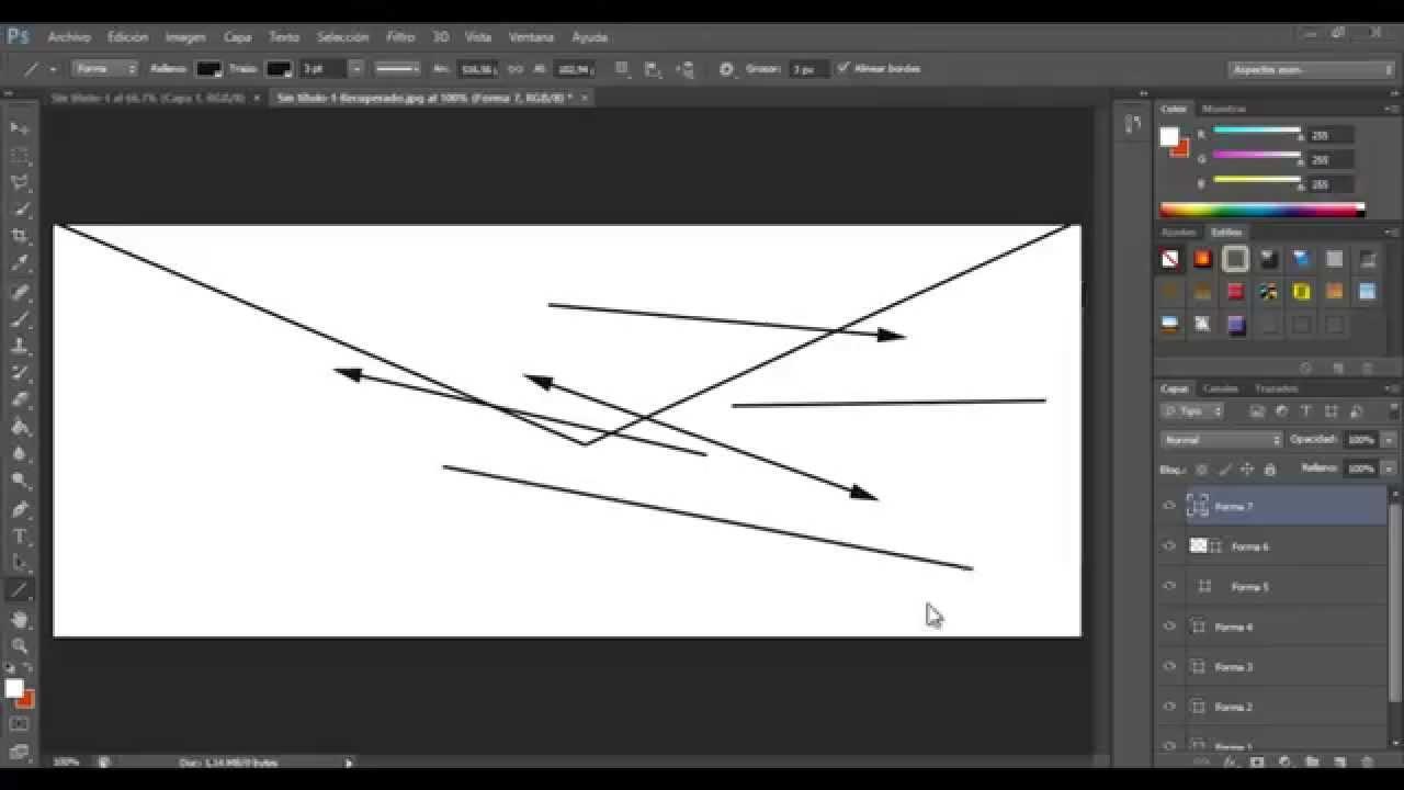 Hacer líneas rectas en Photoshop - YouTube