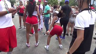 DOMINICAN DAY PARADE BRONX 2018 NEW YORK - GROUP OF PRETTY DOMINICAN GIRLS DANCES TO REGGAETON
