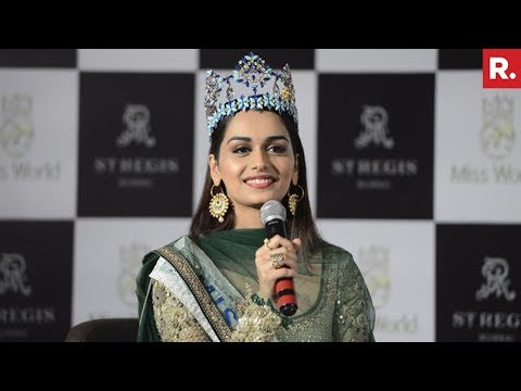 Miss World Manushi Chhillar Addresses The Media In Mumbai