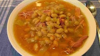 Slow Cooker Smoked Turkey & Bean Soup ~ham Substitute