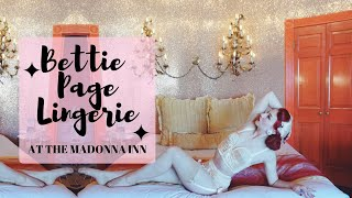 Bettie Page Lingerie at the Madonna Inn with pinup Miss Lady Lace!