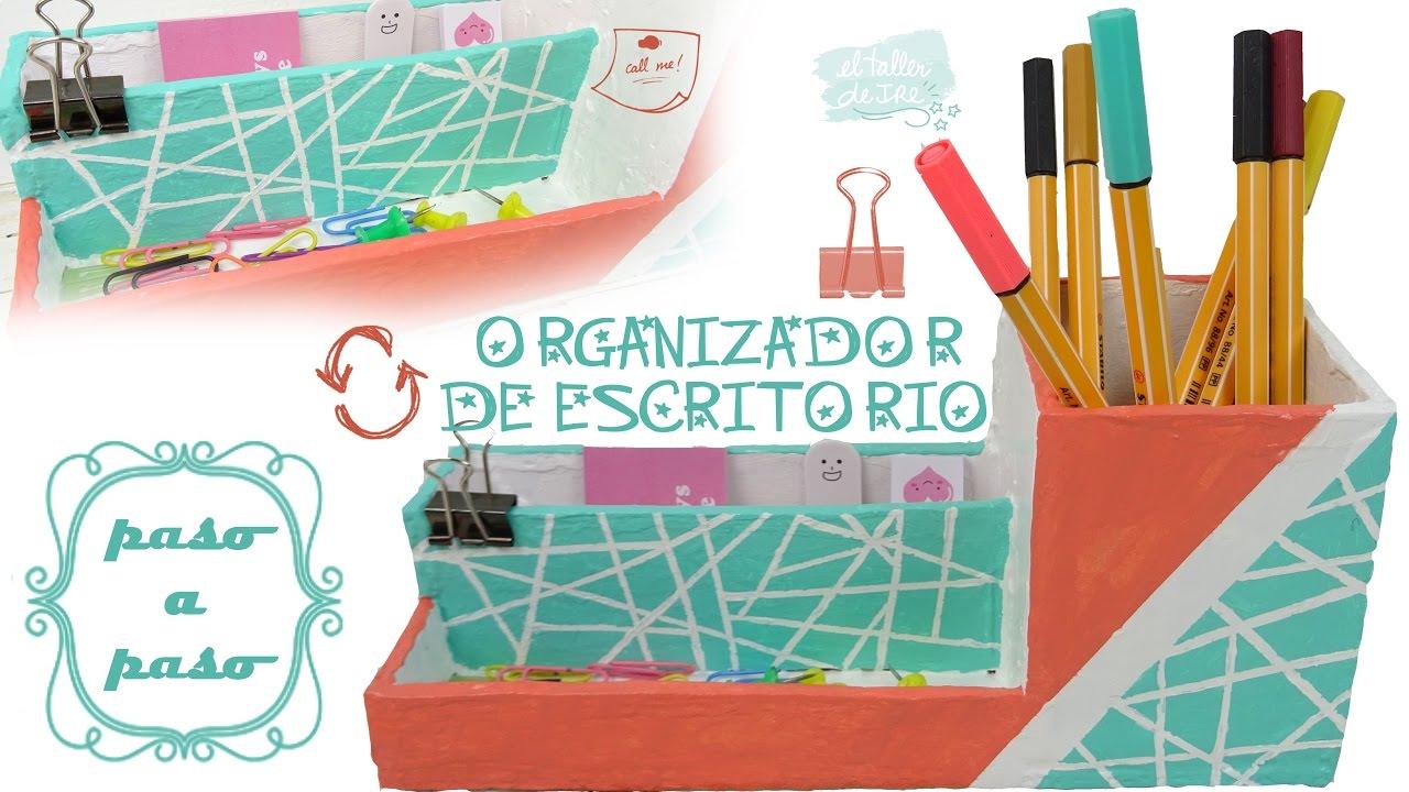 Diy organizador para escritorio de cart n f cil y - Organizador escritorio ...