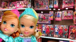 TOY HUNT with Elsa and Anna toddlers ! Shopkins Season 6 and more ! What else will they see ?