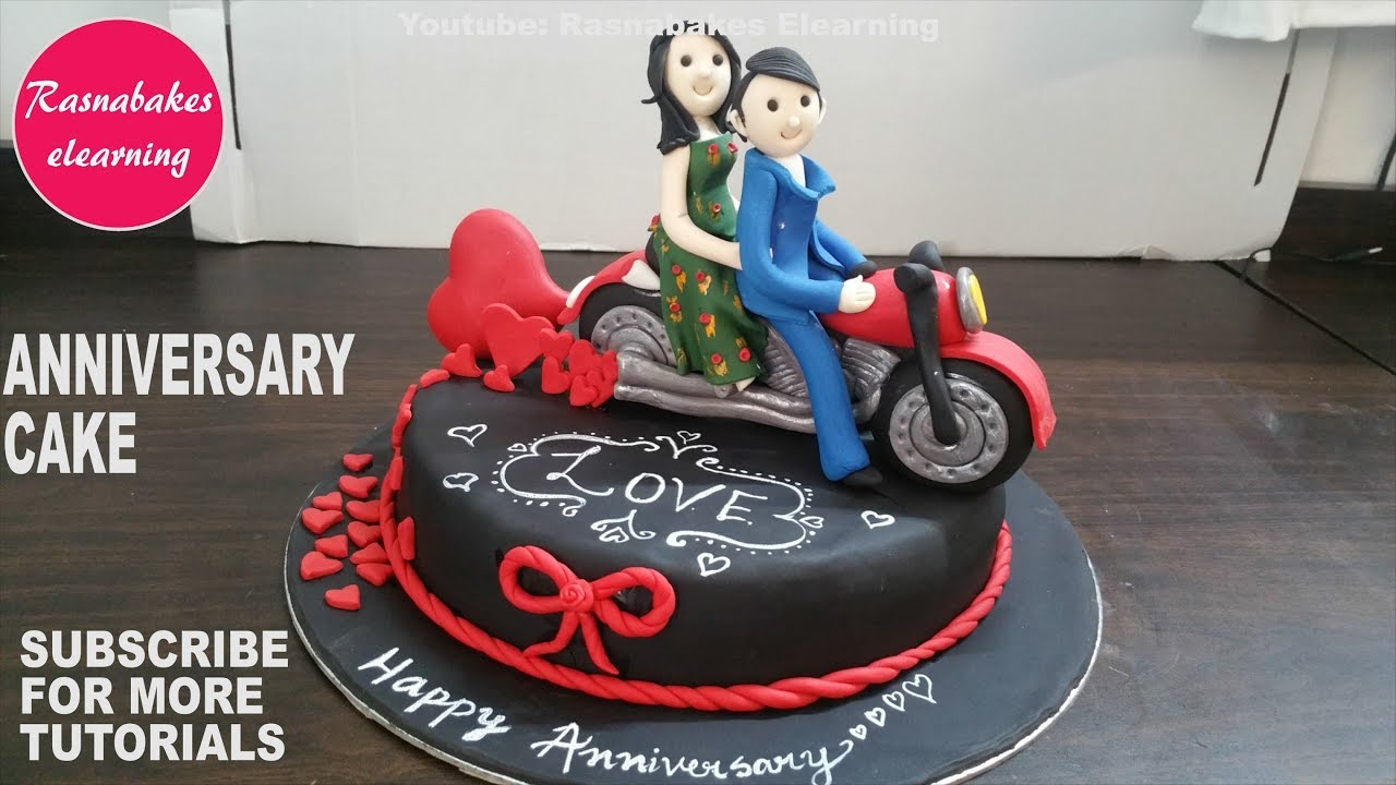 Happy Anniversary Gifts For Men Women Boyfriend Girlfriend Husband Wife Fondant Couple Bike Cake
