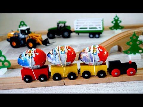 Железная дорога. Открываем Киндер Сюрпризы. Машины. Видео для детей