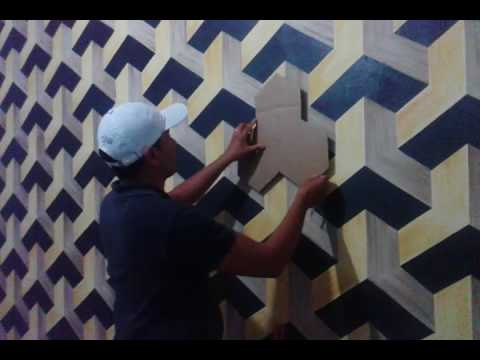 Pintura decorativa efeito 3d parte 2 final youtube for Pintura decorativa efeito marmore