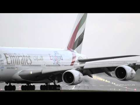 LIVE ATC Emirates A380 Windy Landing and taxi at Gatwick airport