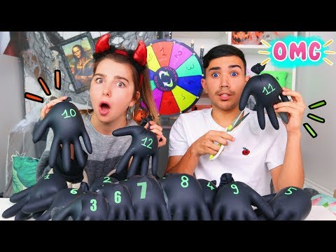 MYSTERY WHEEL OF HALLOWEEN GLOVES SLIME CHALLENGE ?!! JustJonathan