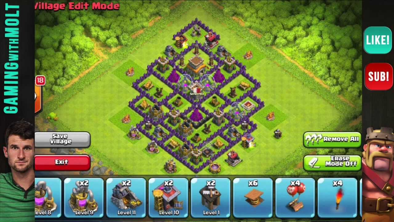 Clash of clans th8 hybrid base design youtube