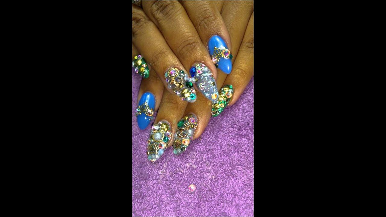 Mermaid nails junk nails Preview - YouTube