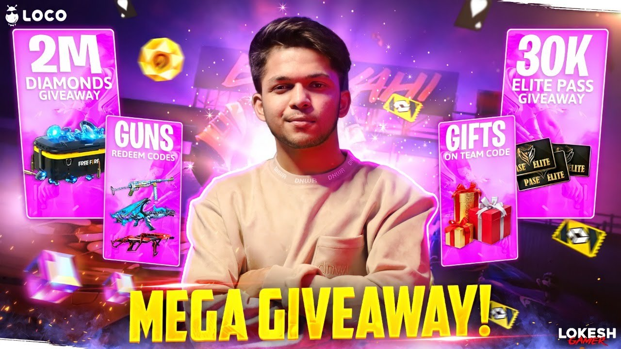 The Biggest Giveaway 2 To 30 Aug 2M Diamonds & 10k Elite Pass Day 4 #locogiveaway Garena Free Fire