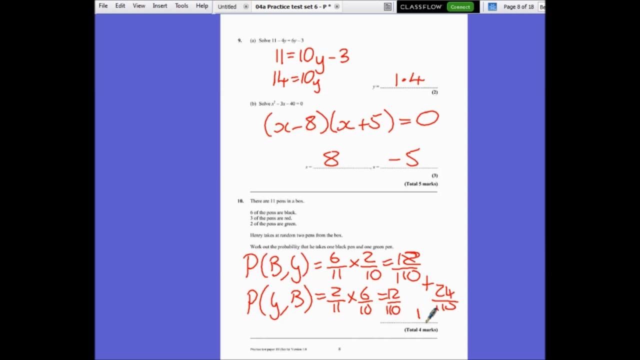 Edexcel Maths GCSE Practice Set 6 Paper 1H - YouTube