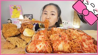 KIMCHI WRAPPED NUCLEAR FIRE NOODLES + KENTUCKY FRIED CHICKEN | MUKBANG
