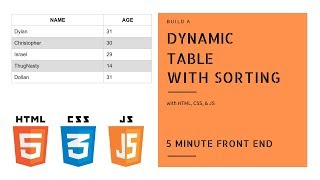 Build a Dynamic Table with Sorting | HTML, CSS & JavaScript Frontend Mini Projects | Dylan Israel