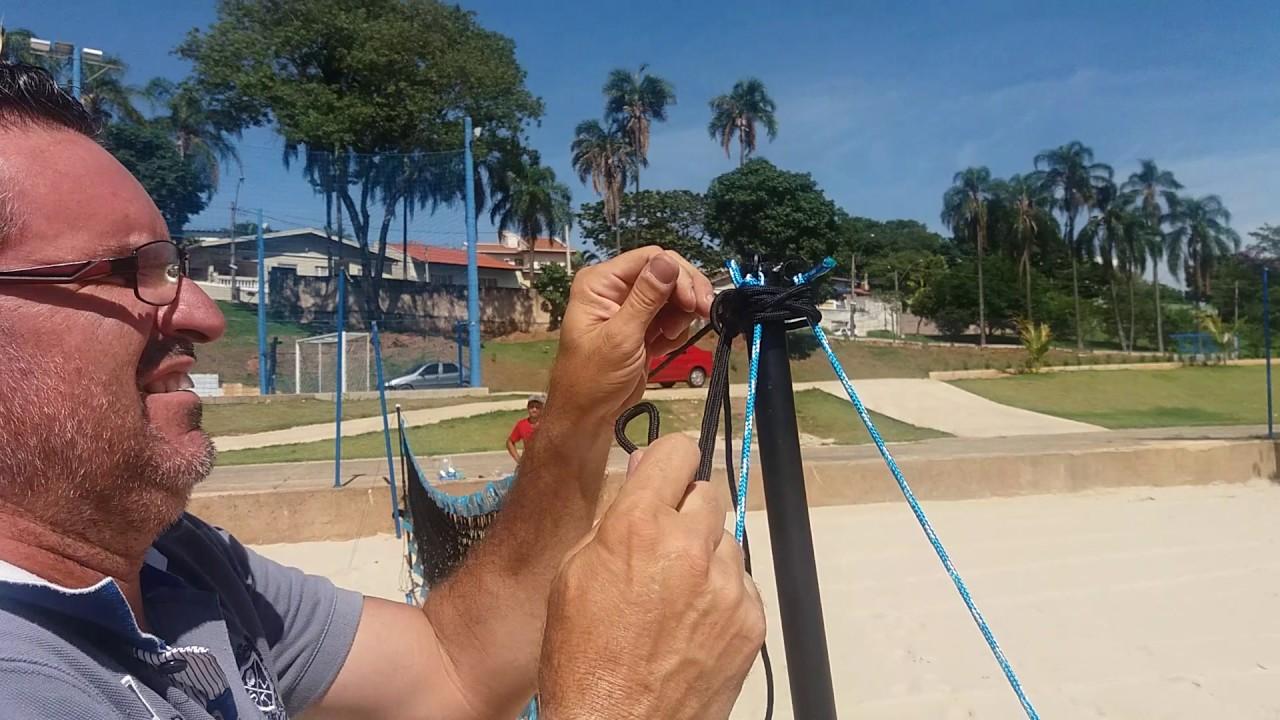50a01bd98 Como montar o kit de rede de Beach Tennis - YouTube