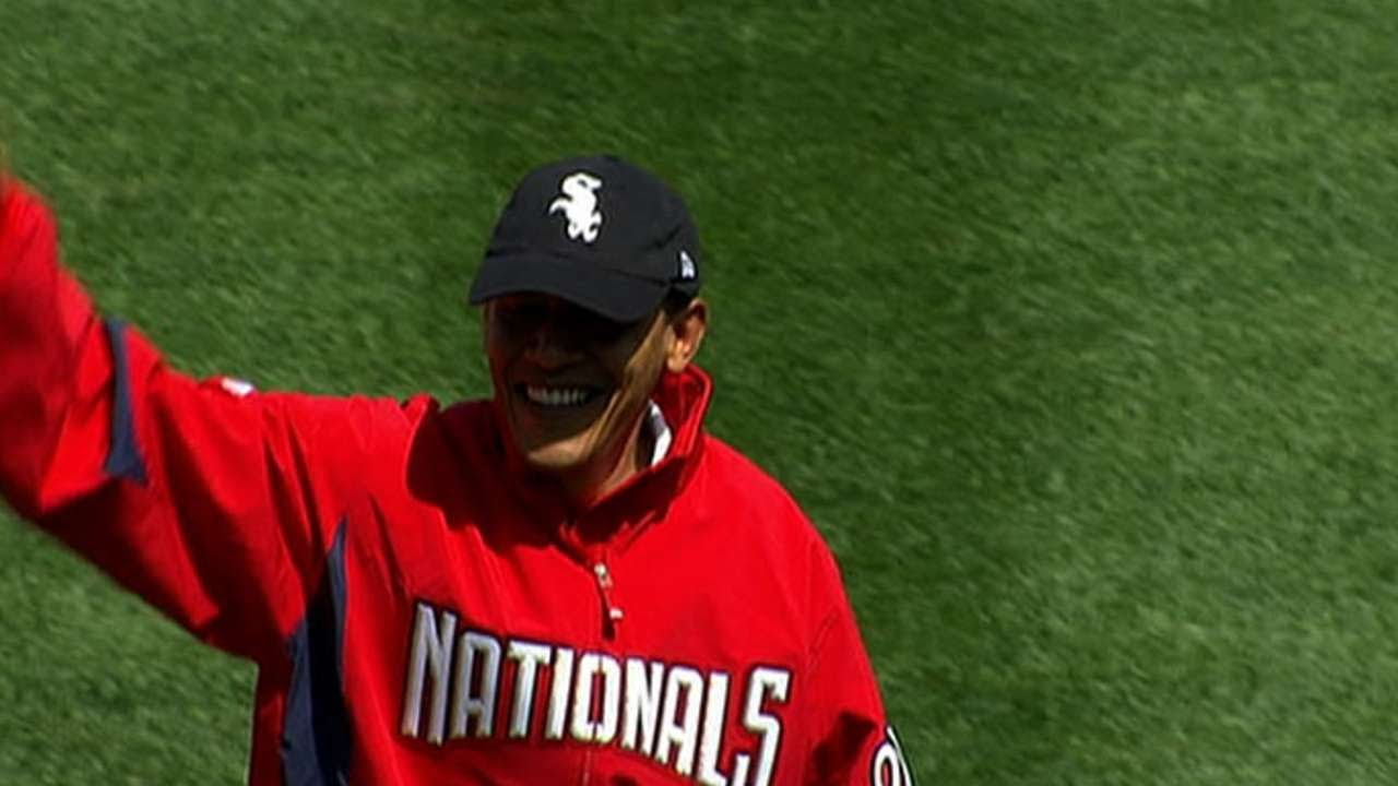 President Barack Obama throws out the first pitch at ...