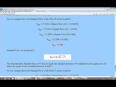 Standard Error of the Estimate for Predicted Values