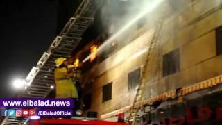 شاهد .. عمليات إطفاء حريق مخزن الأدوات المكتبية بالفجالة