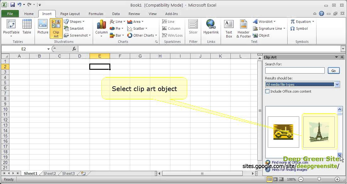 MS Excel 2010 / How to insert clip art object to worksheet - YouTube