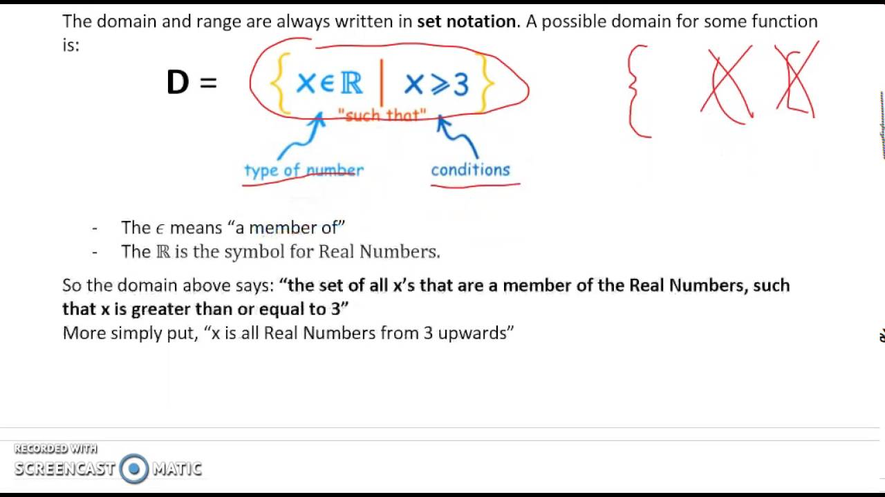 Domain and Range and Real Numbers (Partial 10.10)