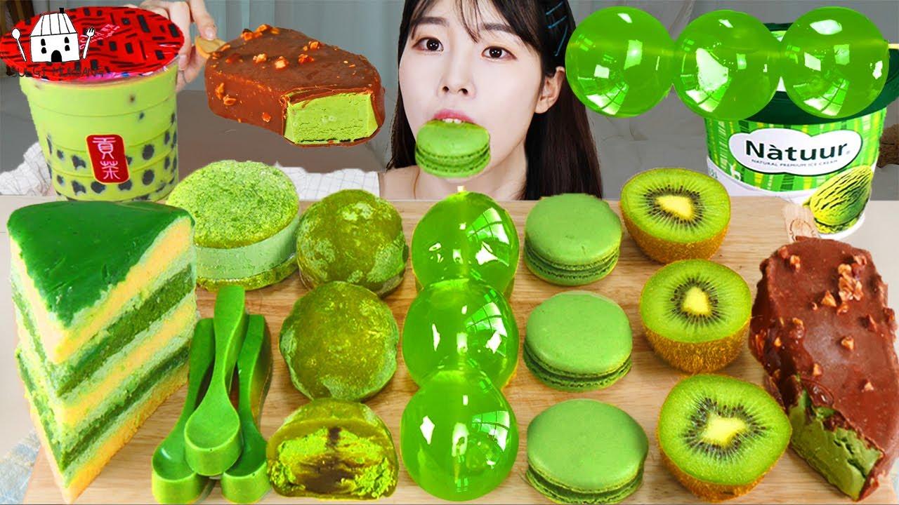 ASMR MUKBANG  초록색 디저트 아이스크림 마카롱 젤리 먹방 & 레시피 DESSERT ICE CREAM MACARONS EATING