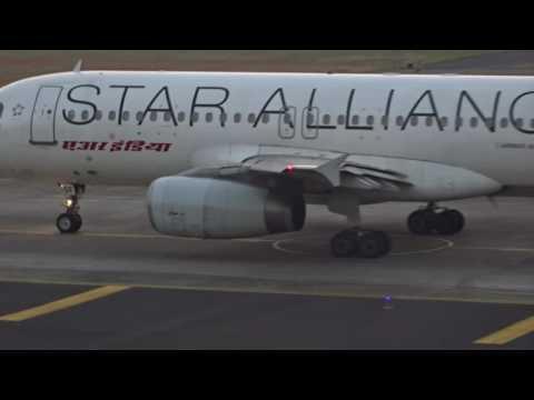 Closer look at Air India star alliance Airbus A320. Mumbai CSIA runway