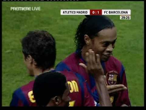 Ronaldinho goal vs Atletico - Barca vs Atletico 1-0