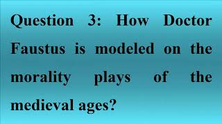 Doctor Faustus Questions Answers