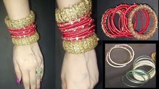 Old bangles  reuse. How to reuse old waste bangles turn into beautiful silk ribbon and gota bangles