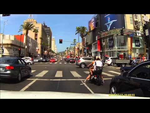 Driving Hollywood Boulevard, Los Angeles, California