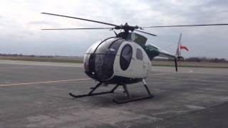 Hughes OH-6A start and takeoff