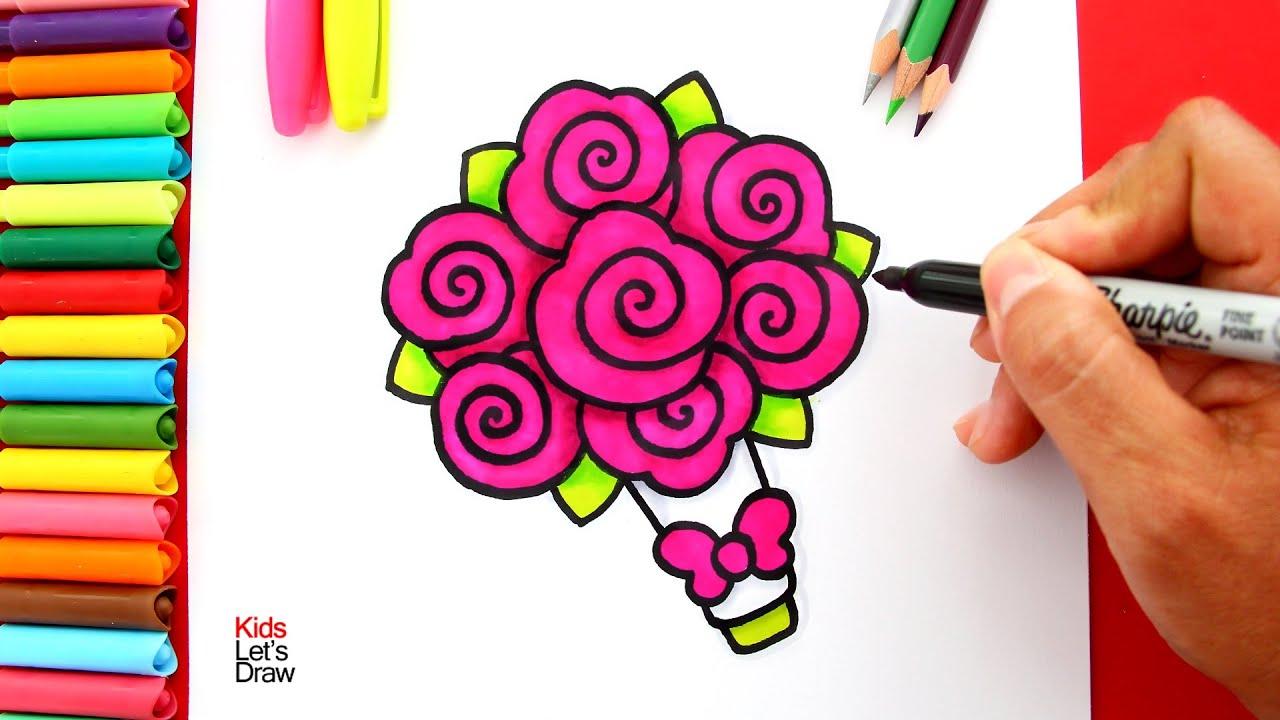 Aprende A Dibujar Un Ramo De Rosas Bouquet De Rosas Youtube