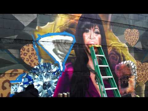 "Mob Wives ""Big Ang"" mural being painted on wall in Staten Island (see it first!)"