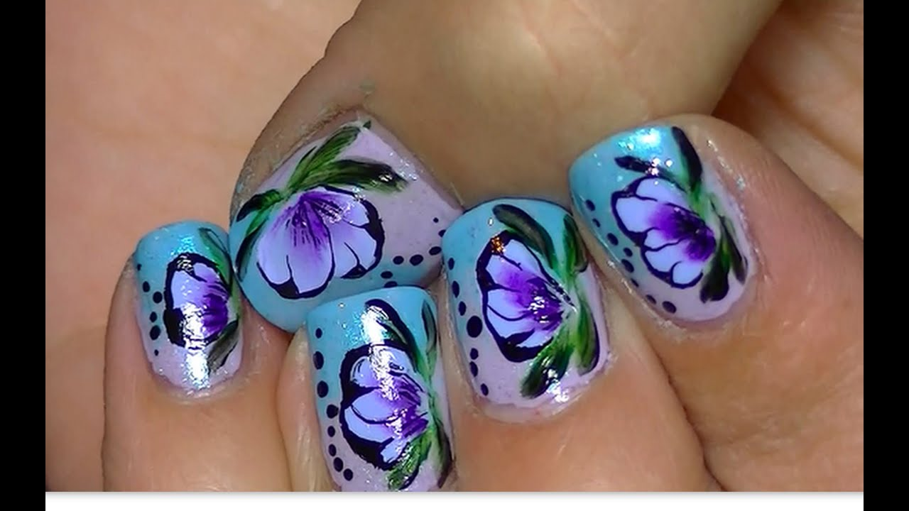 Short Nail Art One Stroke Technique Video Tutorial Youtube