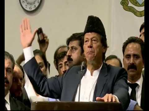 PTI Chairman Imran Khan addressing lawyers at Karachi's city courts