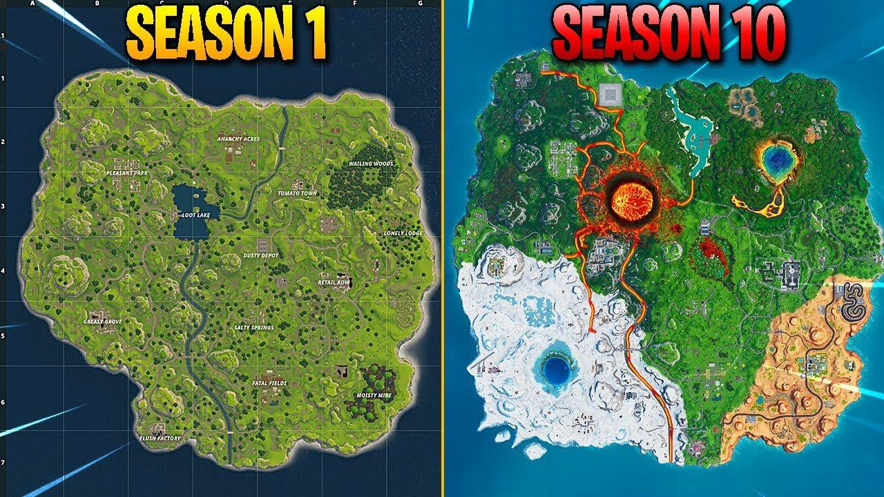 Evolution Of Fortnite Map Season 1 Season 10 Youtube